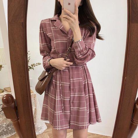June Casual Plaid Shirt Dress - rose / S