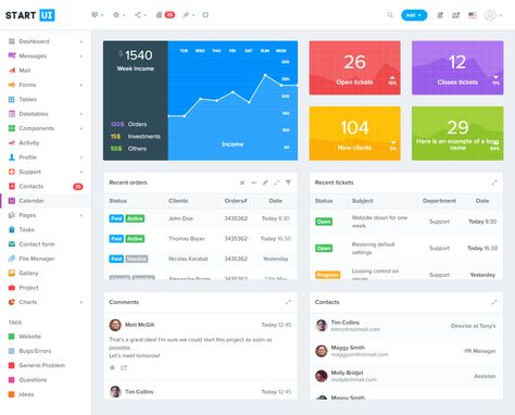 StartUI – a full featured, premium web application admin dashboard built with Twitter Bootstrap 4, JQuery and CSS (Less). It comes with a lot of ready to use components ideal for bulding you web application, CMS, CRM, admin panel, eCommerce dashboard, or any other type of application backend. #Bootstrap4 #admintemplate #webdev
