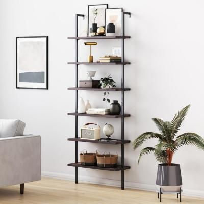Nathan James Theo 85 In Matte Black Reclaimed Oak Wood 6 Shelf Wall Mount Ladder Bookcase With In 2020 Wall Mounted Bookshelves Bookcase Wall Office Furniture Modern