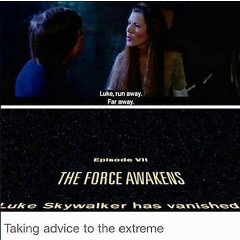 Star Wars The Force Awakens. Taking it a little to far there, Luke. Starwars, Carrie Fisher, Star Wars Jokes, Funny Star Wars, Star Wars Personajes, Fandoms, The Force Is Strong, Bad Feeling, Love Stars