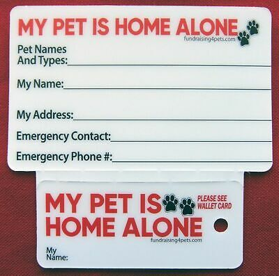 My Pet Is Home Alone Plastic Key Tag Wallet Id Card I C E Pet Emergency Cards Ebay Pet Emergency Card Pet Emergency Pets