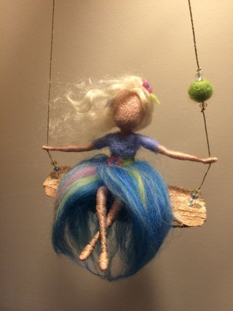 Needle felted Fairy Waldorf inspired Wool Fairy in blue dress on a swing