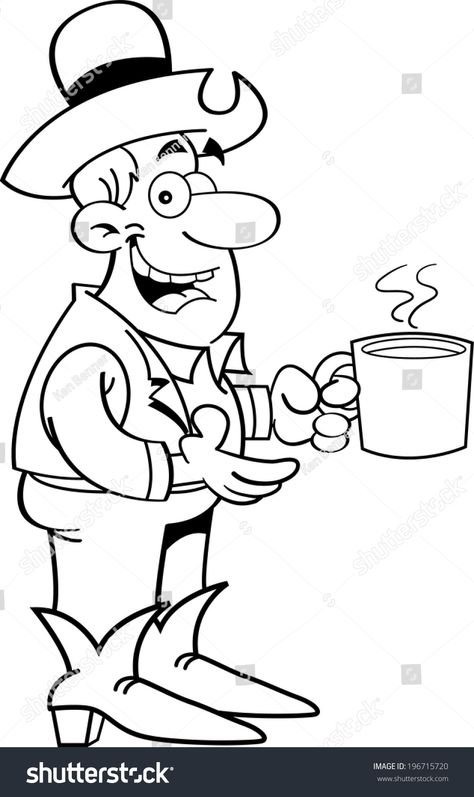 Black and white illustration of a cowboy with a cup of coffee. #Ad , #Affiliate, #illustration#white#Black#coffee
