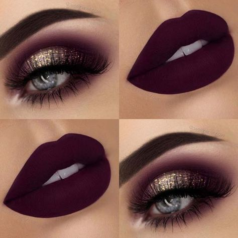 Glitter Eyes + Dark, Matte Lips Eye make up 43 Glitzy NYE Makeup Ideas Eye Makeup Tips, Makeup Inspo, Eyeshadow Makeup, Makeup Brushes, Dark Eyeshadow, Makeup Trends, Eyeshadow Palette, Eyeshadow Tips, Makeup Remover
