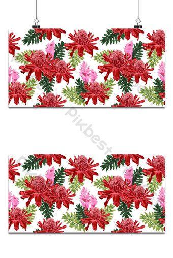 الزنجبيل الشعلة الحمراء نمط سلس مع أوراق الاستوائية على خلفية بيضاء خلفيات Eps تحميل مجاني Pikbest Tropical Leaves Seamless Patterns White Background