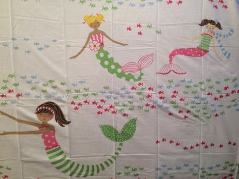 Pottery Barn Kids Mermaid Shower Curtain New Pink Girls Ocean Fish