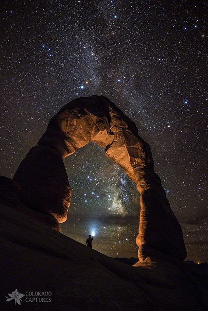 Milky way over Arches national park.a desert landscape in Utah. Beautiful World, Beautiful Places, American National Parks, Delicate Arch, Photos Voyages, Parcs, Adventure Is Out There, Milky Way, Amazing Nature