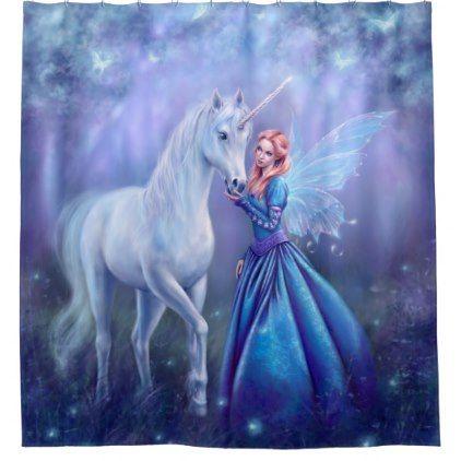 Rhiannon - Unicorn and Fairy Shower Curtain - shower gifts diy customize creative