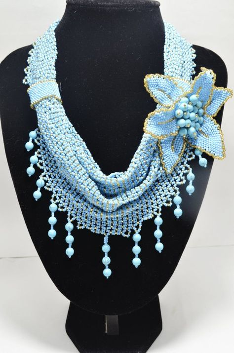 Items similar to Blue and Gold Turquoise Necklace Beaded Scarf Necklace Flower Brooch Handwoven Statement Bridal Jewelry Beach Wedding Artisan Jewelry Gift on Etsy