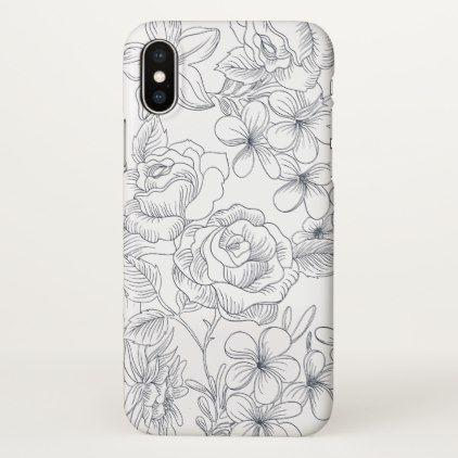 Elegant Hand Drawn Floral Design Iphone X Case Zazzle Com Casing
