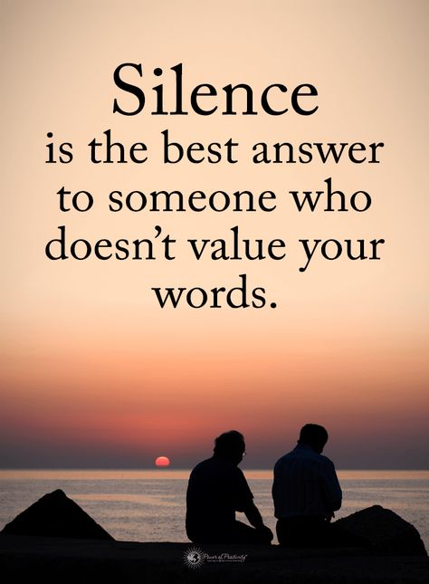 Silence Quotes Silence is the best answer to someone who doesn't value your words