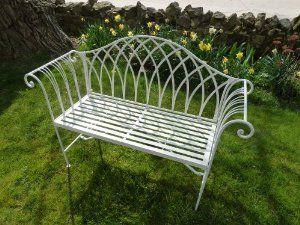 Astounding Uk Gardens Metal 2 Seater Garden Bench White Ornate 4Ft Theyellowbook Wood Chair Design Ideas Theyellowbookinfo