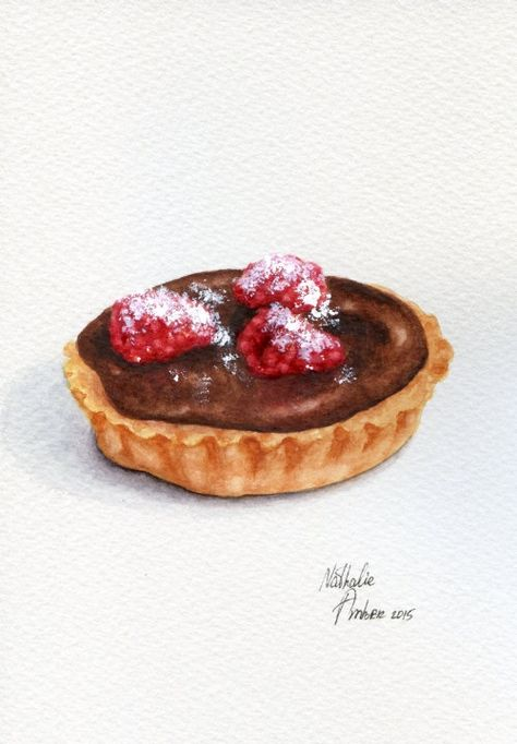 Raspberry Chocolate Tart Painting By Forestspiritart