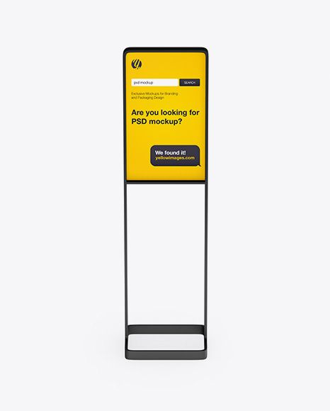 Street Stand Mockup Front View In Outdoor Advertising Mockups On Yellow Images Object Mockups Mockup Free Psd Mockup Psd Psd Mockup Template