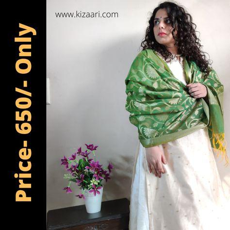 Get this look & many more on www.kizaari.com #kizaari #kizaaribanarasiclothing #sustainableclothing #sustainablegifts #sustainablefashionblogger #ilovebanaras #ilovehandloom #heirloom #handicrafts #femalefounder #femalefounded #textilesofindia #kolkataphotographer #kolkatagirl #kolkata #delhi #delhigirls #delhigirlswag #indianweddinglook #indianbridalwear #chanderidupatta #dupattashopping #shoppingoninstagram #covidwedding2020 #covidweddingideas #greendupatta #whitesuit #whitelehenga