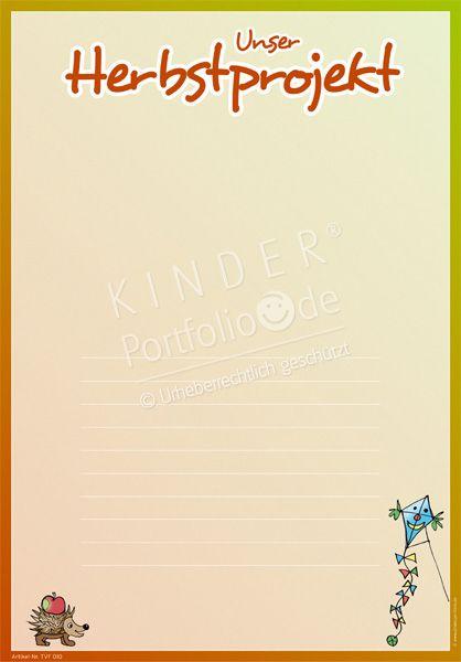 Kindergarten Portfolio Vorlagen Unser Herbstprojekt Portfolio Kindergarten Schulkinder
