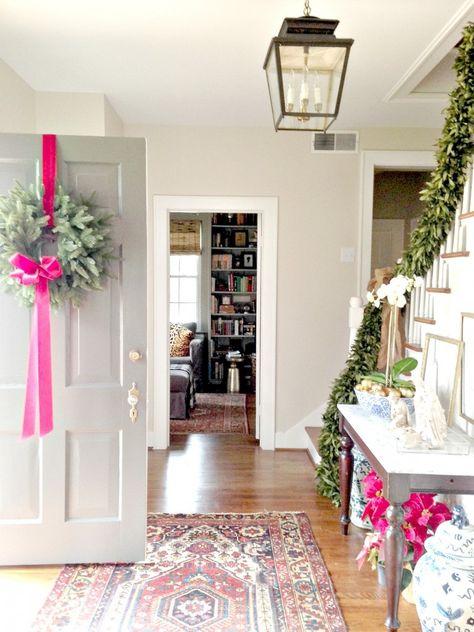 Entryway lantern & rug via Holly Mathis