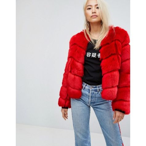 9e86a0911 Jakke Cropped Faux Fur Paneled Coat ($222) ❤ liked on Polyvore featuring  outerwear, coats, red, red coat, tall coats, leather-sleeve coats, midi coat  and ...