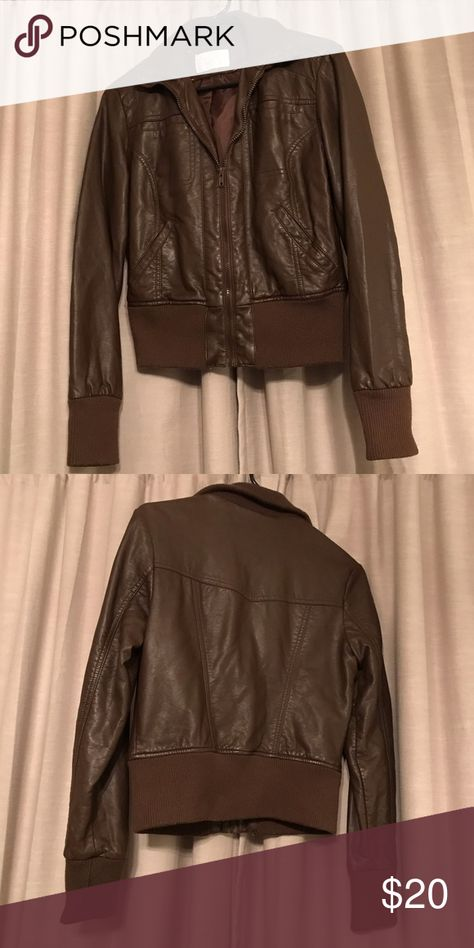 Brown Faux Leather Jacket Xhilaration Target In 2018 My Posh