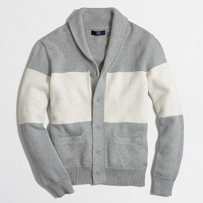 J.Crew Factory - Factory colorblock shawl-collar cotton cardigan ...