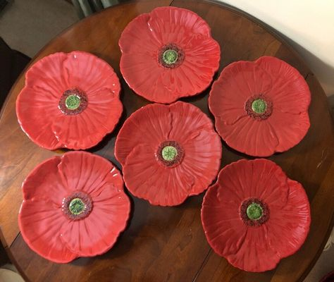 """Rare Brown Dimples Ambiance Fleur Rustique Red Poppy Dinner Plate 11/"""""""