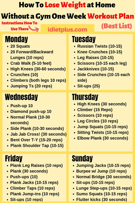 How To Lose 12 Pounds In One Week With a Simple Workout Plan Full of Exercises