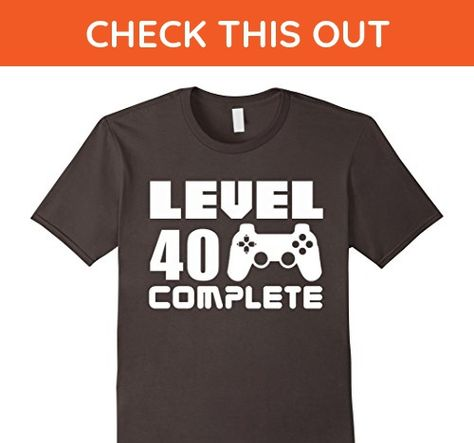 68120040 Mens 40th Birthday T Shirt Level 40 Complete Funny Video Gamer 3XL Asphalt  - Birthday shirts (*Amazon Partner-Link)