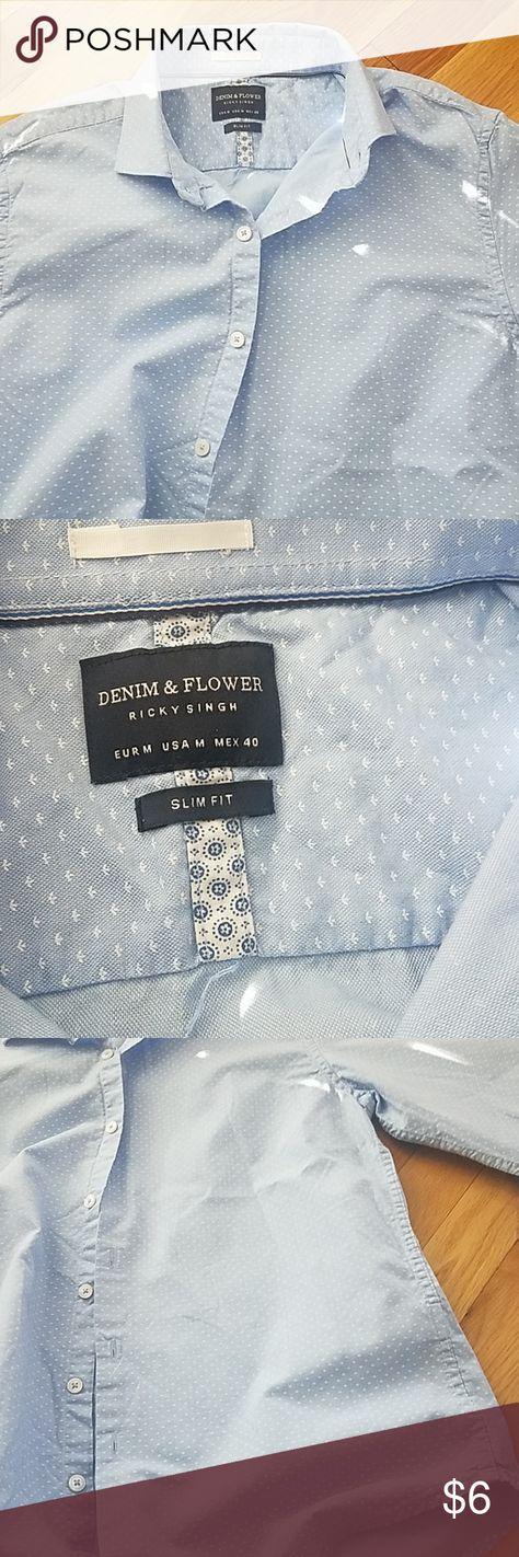 38f8fdfebf Denim   Flower by Ricky Singh Mens dress shirt slim fit. Size M. Cornflower  blue with white print. Good condition. Denim   Flower Shirts Dress Shirts