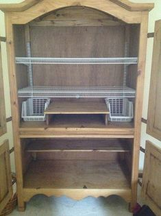 Armoire repurposed for kitchen pantry