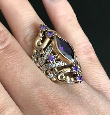 Turkish Amethyst Ring 925 Sterling Silver Handmade Authentic Size 6,7,8,9,10