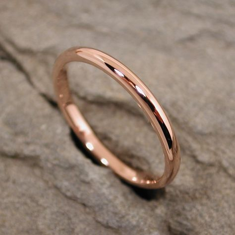 Solid Rose Gold Ring 14k Romantic Pink Wedding Band Jewelry 2mm RoseGold. $240.00, via Etsy.