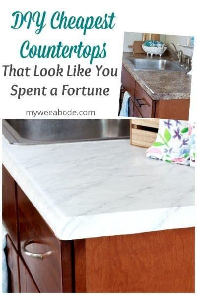 Diy Cheap Countertops With Contact Paper My Wee Abode Abode Cheap Contact Counte In 2020 Cheap Countertops Cheap Kitchen Countertops Replacing Kitchen Countertops