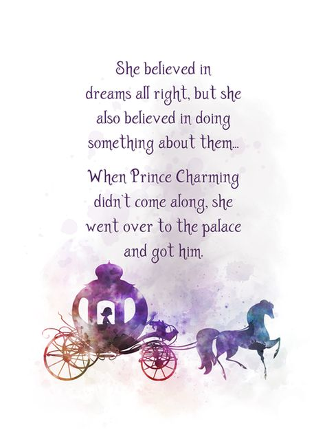 Cinderella Horse And Carriage Quote ART PRINT Inspirational, Nursery, Princess, Gift, Wall Art, Home Decor, Gift Ideas, Birthday, Christmas