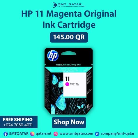 HP 11 Magenta Original Ink Cartridge with free shipping all over Qatar.