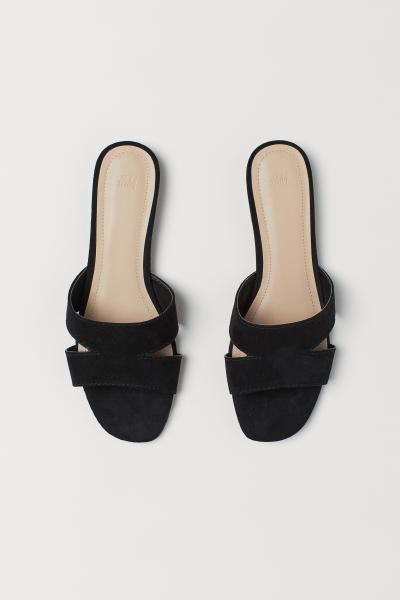 Low-heeled Sandals - Black/snakeskin