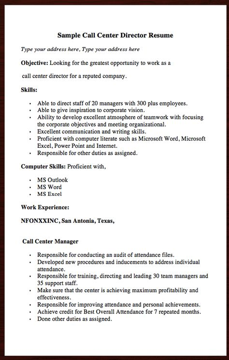 Here goes another Free resume Example of Call Center Director - land surveyor resume examples