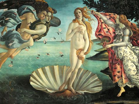 """Sandro Boticelli's """"The Birth of Venus"""", 1486, Galleria degli Uffizi, Florence. Most paintings of women during the middle Ages symbolize the Virgin Mary, showing her in a demure appearance with an angelic smile and covered head. So Botticelli's depiction of a beautiful goddess, not only an obvious symbol of pagan mythology but also painted as a nude was groundbreaking."""