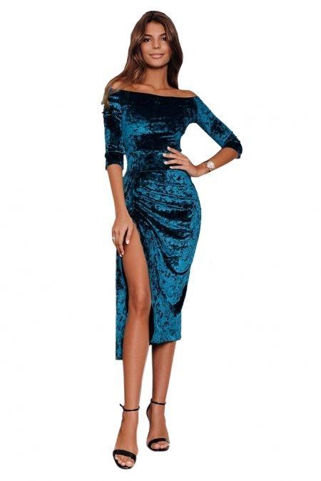 Sukienka Szafirowa Welurowa Odkryte Ramiona Duzy Rozporek Tuba Half Sleeve Dresses Cheap Club Dresses Dresses