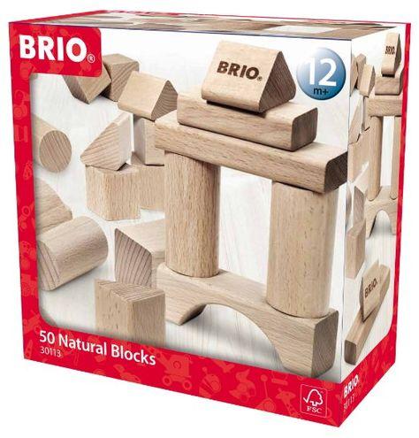 Brio 30113 - Natur Holzbausteine, 50 Teile