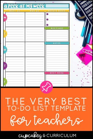 The Best To Do List Template For Teachers Cupcakes Curriculum Teachers List Template Classroom Routines And Procedures