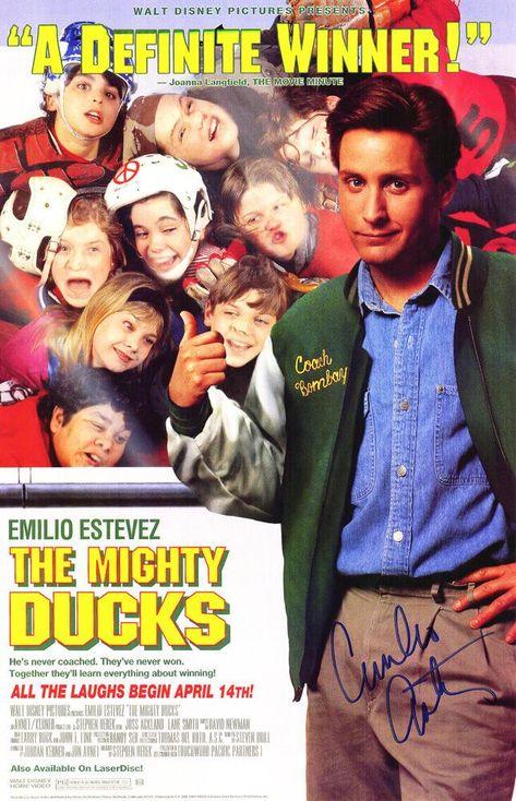 Emilio Estevez Signed Mighty Ducks 11x17 Movie Poster