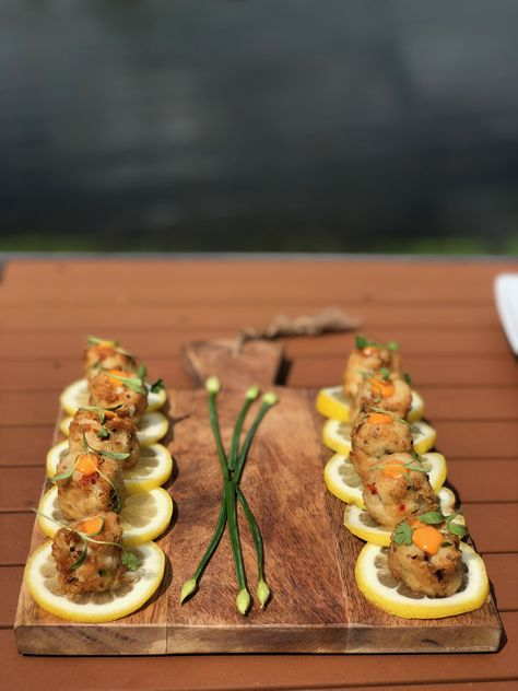 These mini crab cakes appetizers are perfect for your lakeside wedding at Rock Island Lake Club! | Sparta, NJ #RockIslandLakeClub #NJwedding #NJweddingvenue #wedding #weddingvenue #weddings #weddingvenues #NJbride #engaged #weddingfood #cocktailhour #lakesidewedding #food #foodie #foodporn #outdoorwedding #lakelife #weddingplanning #cocktailhourfood #foodideas #weddinginspo #weddingideas #weddingtips #crab #crabcakes #appetizers #foodstation #bridetobe #weddinggoals #eat #seafood