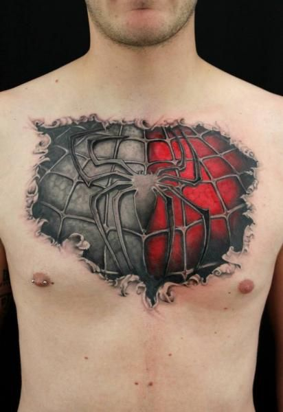 50 Awesome 3d Chest Tattoo Designs Gravetics Spiderman Tattoo Spiderman Chest Tattoo Tattoos