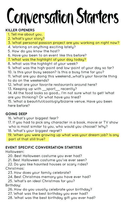 Killer conversation starters