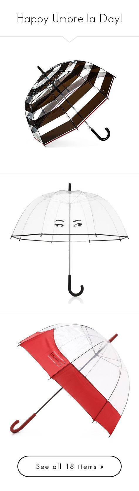 """Happy Umbrella Day!"" by polyvore-editorial ❤ liked on Polyvore featuring umbrellas, accessories, black, target umbrella, bubble umbrella, black umbrella, home, outdoors, patio umbrellas and umbrella"