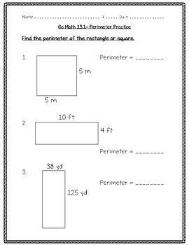 Go Math Practice - 4th Grade - 13.1 - Perimeter   Go math ...
