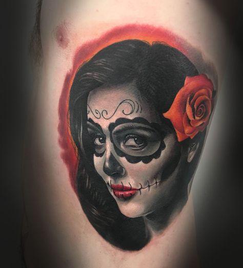 Day Of The Dead Tattoo Www Holytrinitytattoos Co Uk Artist Tibor Black Www Holytrinitytattoos Co Uk Holytrinit With Images Tattoo Studio Tattoos Trinity Tattoo