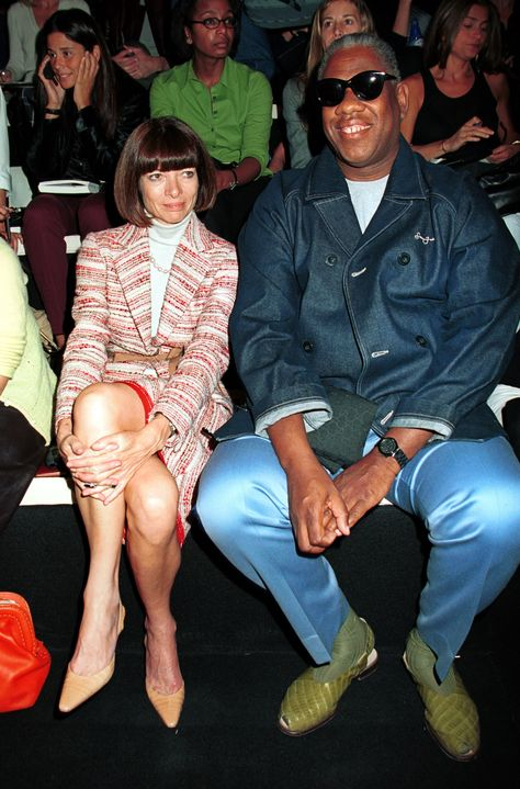 September 2000 Anna Wintour and Andre Leon Talley attend the Donna Karan show during New York Fashion Week