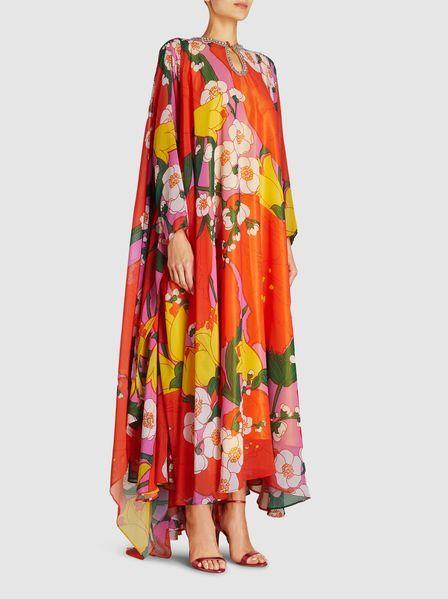 Richard Quinn Floral Print Chiffon Kaftan Gown Long Sleeve Chiffon Dress Kaftan Gown Floral Print Chiffon