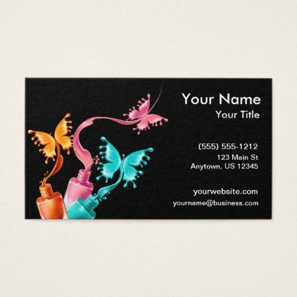 Butterfly Nail Polish Business Card Zazzle Com In 2021 Butterfly Nail Nail Logo Butterfly Nail Designs